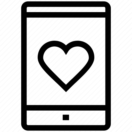 android, cell phone, favourite, heart on mobile, mobile, romance icon