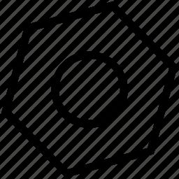 garage, hexagonal, nut, nut shape, screw, setting icon