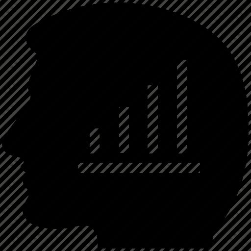 analyst mind, bar graph chart, bar graph in mind, human brain icon