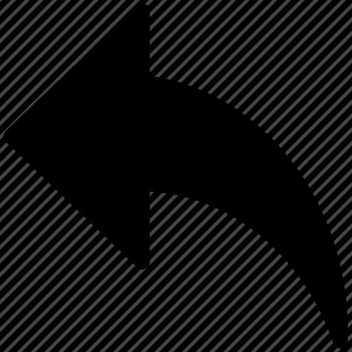 arrow, arrow sign, curve arrow, direction, left, movement icon