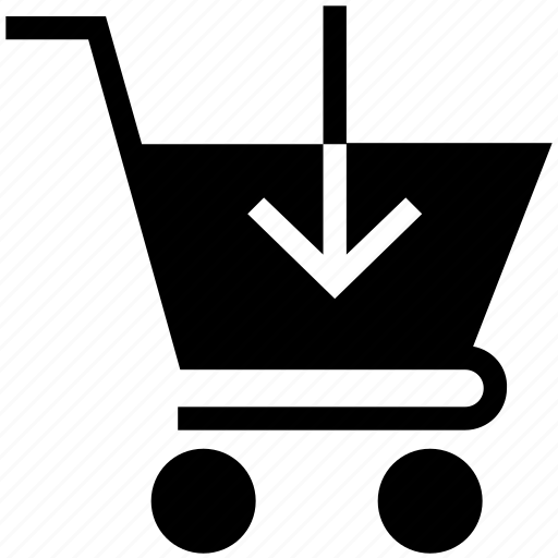 arrow, down sing on cart, shopping cart, shopping cart arrow icon
