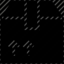 arrow on box, box, gift box, logistics, shipping box icon