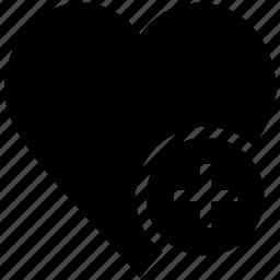 heart, heart plus sign, heart shape, like icon