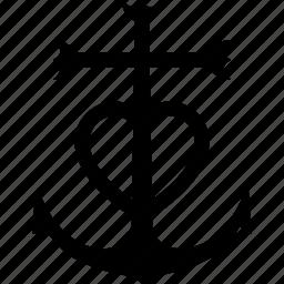 anchor, anchored, camargue, cross, emblem, heart icon