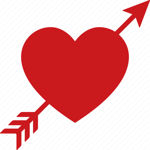Arrow, cupid, heart, love, lovestruck, red, through icon - Download on Iconfinder