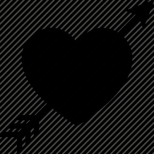 arrow, cupid, heart, love, lovestruck, through, wounded icon