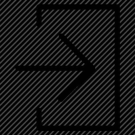 arrow, in, insert, right icon