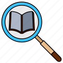 search, find, magnifier, book