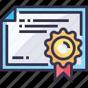certificate, graduation, school, university icon
