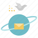 communication, earth, mail, planet, technology, worldwide icon