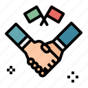 handshake, business, political, agreement, gestures, flags, shake icon