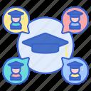 alumni, graduate, mortar icon