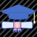 mortar, certificate, graduate icon