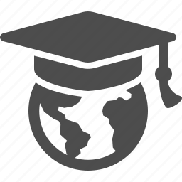 earth, education, global, globe, graduation cap, hat, world icon