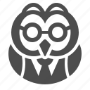 education, glasses, owl, professor, suit icon
