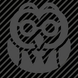 education, glasses, owl, professor, suit icon
