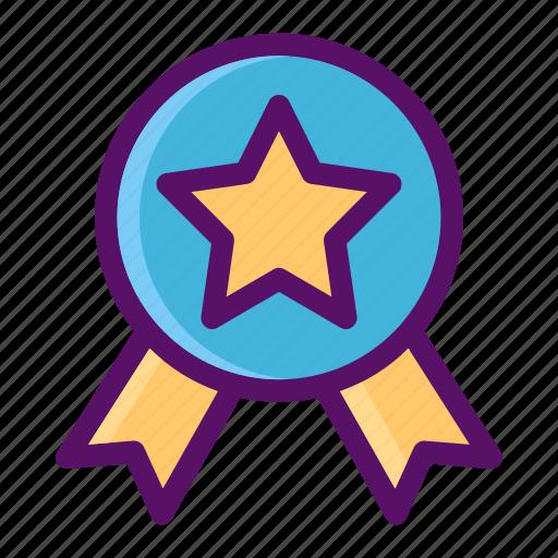 achievement, award, recognition, ribbon, school icon
