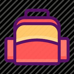 bag, baggage, luggage, purse, school icon