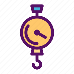 hanging, hook, measurement, scale, weight icon