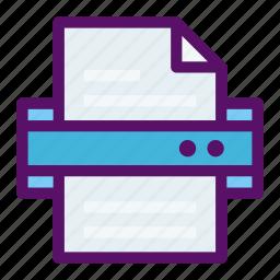 document, file, paper, printer, scanner icon