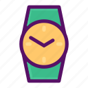 clock, keeping, time, watch, wrist icon