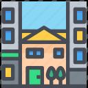 apartment, building, city, construction, estate, home, small icon