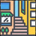 building, city, estate, urban, alley, construction, cityscape icon
