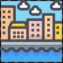 building, city, construction, estate, home, river, urban
