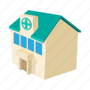 blue, building, cartoon, healthcare, hospital, medical, service icon