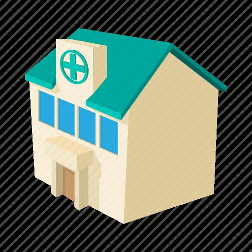 blue, building, cartoon, healthcare, hospital, medical, service icon