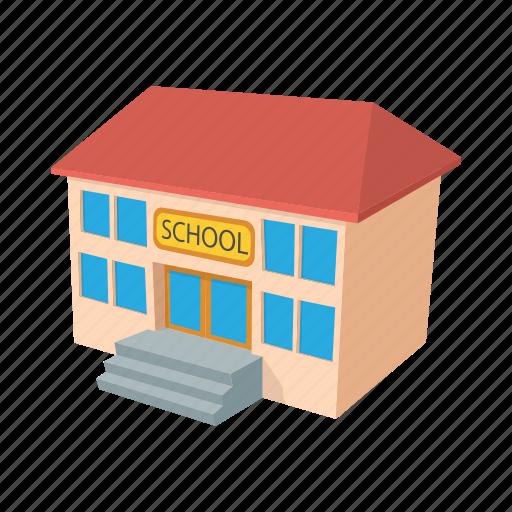 architecture, building, cartoon, clock, college, education, school icon