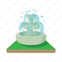 architecture, cartoon, decoration, drop, fountain, park, water icon