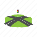 direction, traffic, way, path, crossroad, cartoon, road