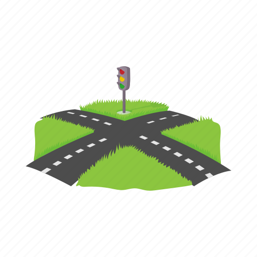 cartoon, crossroad, direction, path, road, traffic, way icon