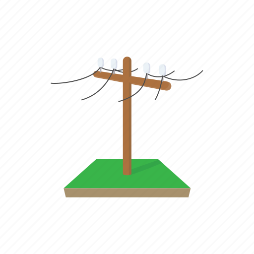 cable, cartoon, electricity, line, pole, power, wire icon