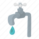 cartoon, drip, drop, faucet, metal, tap, water icon