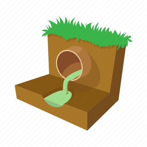 cartoon, industrial, industry, pipe, sewerage, system, water icon