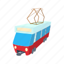 cartoon, city, train, tram, transport, travel, vehicle icon