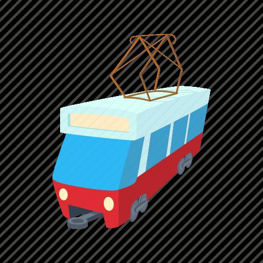 cartoon, city, train, tram, transport, travel, vehicle icon
