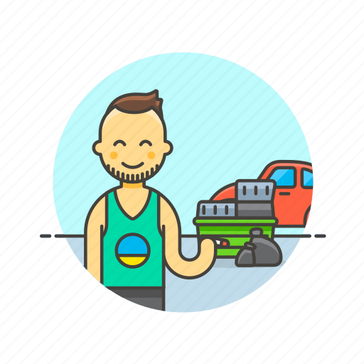 car, container, hoarder, man, trash, tribe, urban, vehicle icon