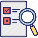 file review, list review, result review, voting inspection, voting list icon