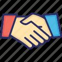 business partners, business relationship, management, partnership, shaking hand icon