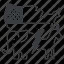 us, vote, map, democratic, vs, republic, election icon