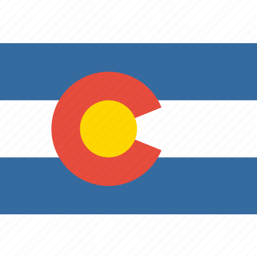 american, colorado, flag, rectangular, state icon