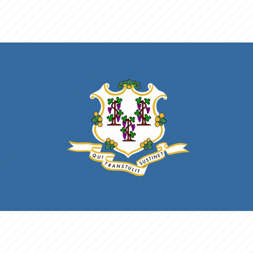 american, connecticut, flag, rectangular, state icon