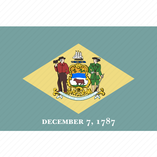 american, delaware, flag, rectangular, state icon