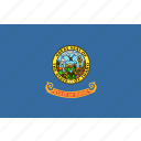 american, flag, idaho, rectangular, state icon