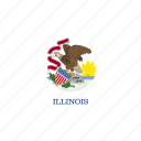 american, flag, illinois, rectangular, state icon