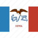 american, flag, iowa, rectangular, state icon