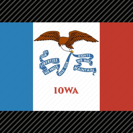 american, flag, iowa, rectangular, state icon